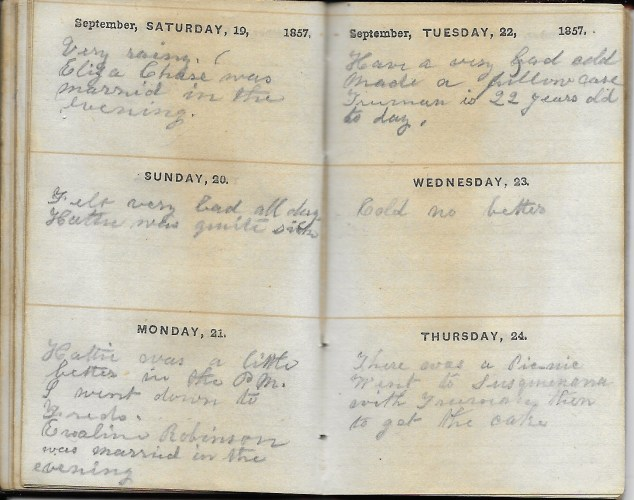 Ann M. Hull, Diary of 1857, (Susquehanna County, Pennsylvania), 19-24 September 1857, privately held by Faulkner-Hull Collection