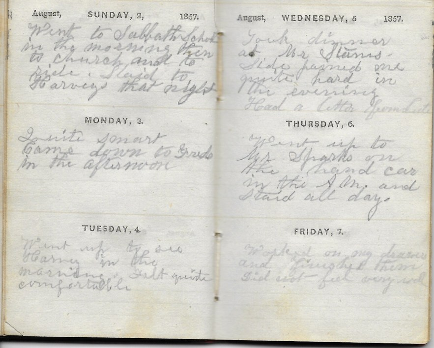 Ann M. Hull, Diary of 1857, (Susquehanna County, Pennsylvania), 2-7 August 1857, privately held by Faulkner-Hull Collection