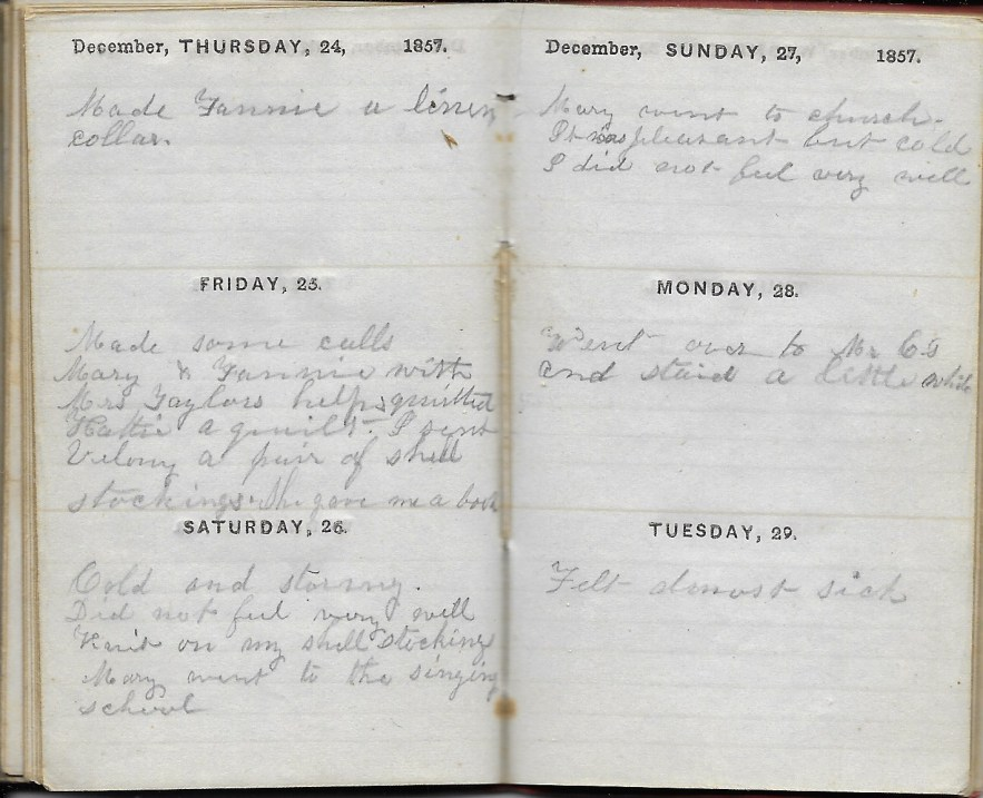 Ann M. Hull, Diary of 1857, (Susquehanna County, Pennsylvania), 24-29 December 1857, privately held by Faulkner-Hull Collection