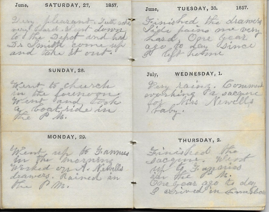 Ann M. Hull, Diary of 1857, (Susquehanna County, Pennsylvania), 27-30 June 1857, privately held by Faulkner-Hull Collection