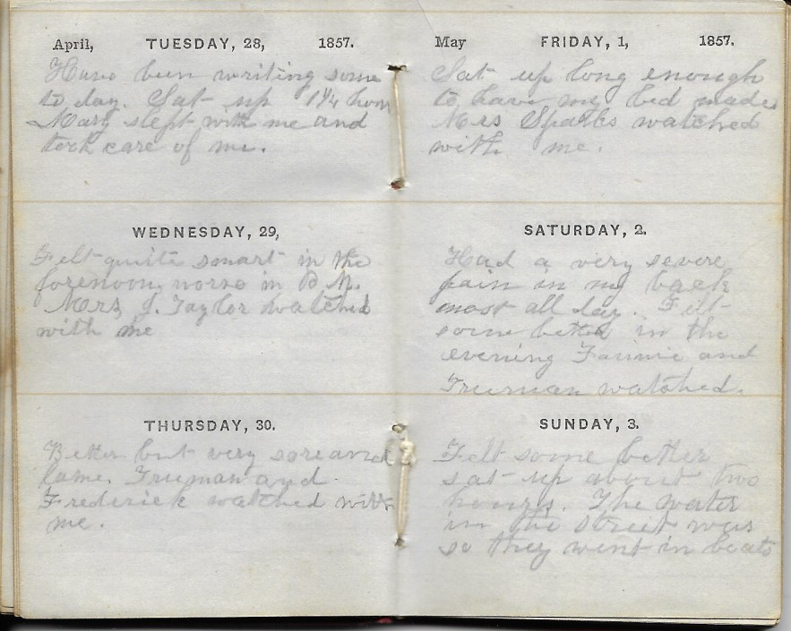 Ann M. Hull, Diary of 1857, (Susquehanna County, Pennsylvania), 28-30 April 1857, privately held by Faulkner-Hull Collection