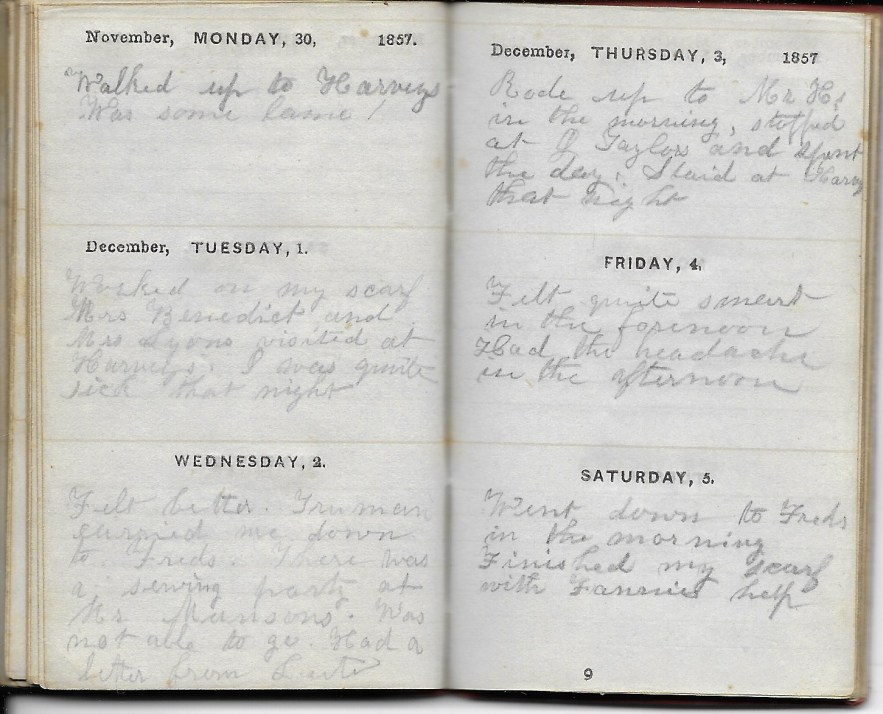 Ann M. Hull, Diary of 1857, (Susquehanna County, Pennsylvania), 30 November 1857, privately held by Faulkner-Hull Collection
