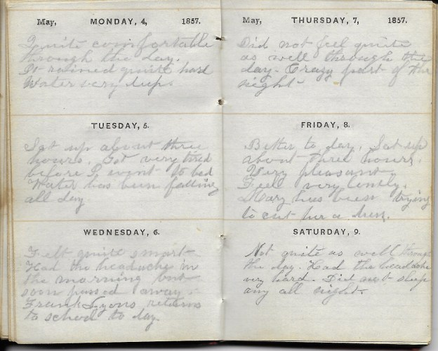 Ann M. Hull, Diary of 1857, (Susquehanna County, Pennsylvania), 4-9 May 1857, privately held by Faulkner-Hull Collection