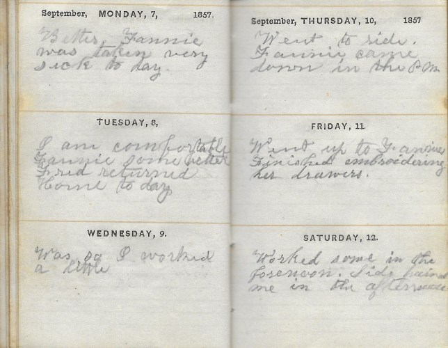Ann M. Hull, Diary of 1857, (Susquehanna County, Pennsylvania), 7-12 September 1857, privately held by Faulkner-Hull Collection