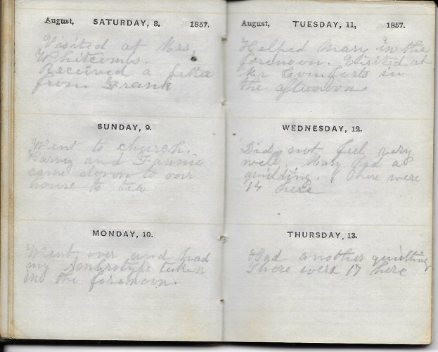 Ann M. Hull, Diary of 1857, (Susquehanna County, Pennsylvania), 8-13 August 1857, privately held by Faulkner-Hull Collection
