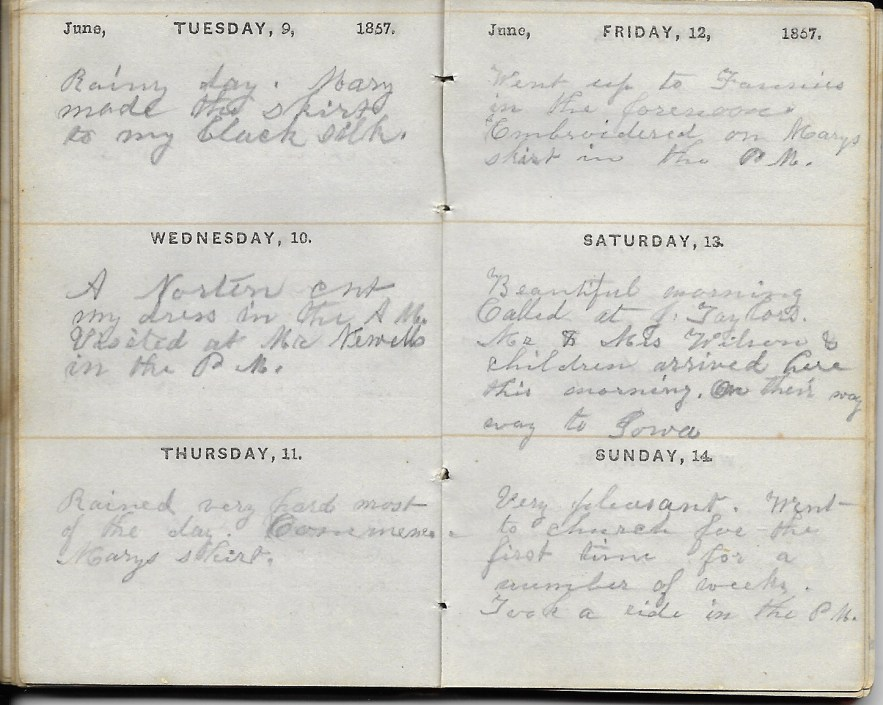 Ann M. Hull, Diary of 1857, (Susquehanna County, Pennsylvania), 9-14 June 1857, privately held by Faulkner-Hull Collection