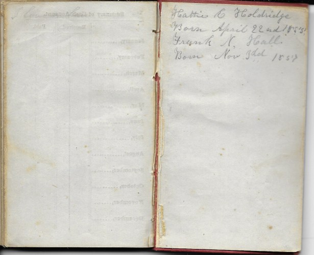 Ann M. Hull, Diary of 1857, (Susquehanna County, Pennsylvania), Births in back of diary, privately held by Faulkner-Hull Collection