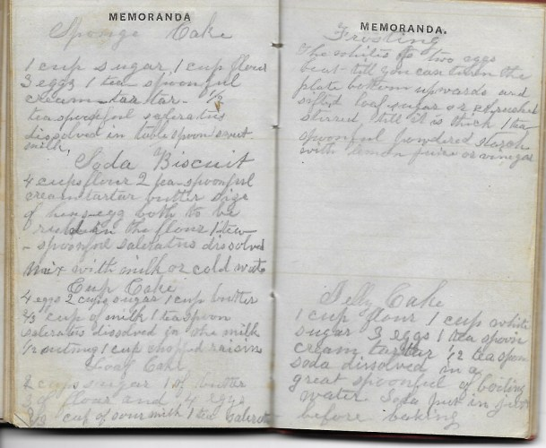 Ann M. Hull, Diary of 1857, (Susquehanna County, Pennsylvania), Sponge Cake recipe in back, privately held by Faulkner-Hull Collection