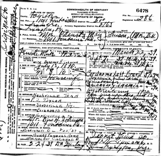 Commonwealth of Kentucky, certificate of death, no. 6478, Lexington, Fayette County, Mrs. Phenaty May Johnson, 22 Mar 1939.