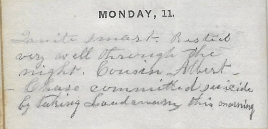 """Diary for 1857 of Ann M. Hull, Susquehanna County, Pennsylvania,"""" 11 May 1857 entry"""