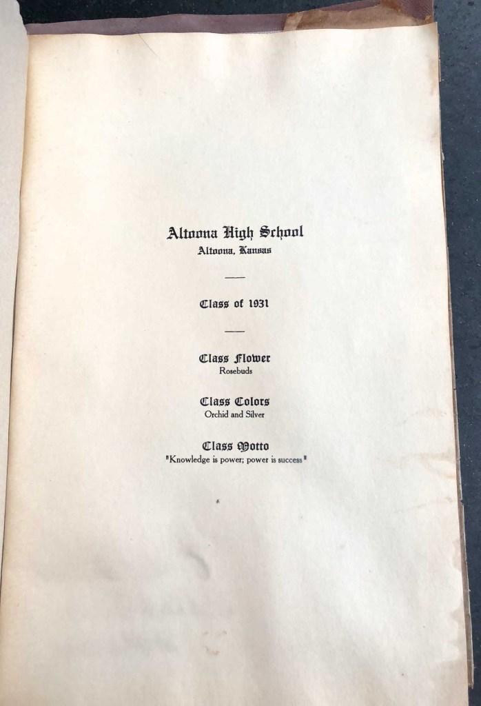 Eleanor M. Phillis, Altoona High School Diploma, inside cover, 1931, Altoona, Kansas
