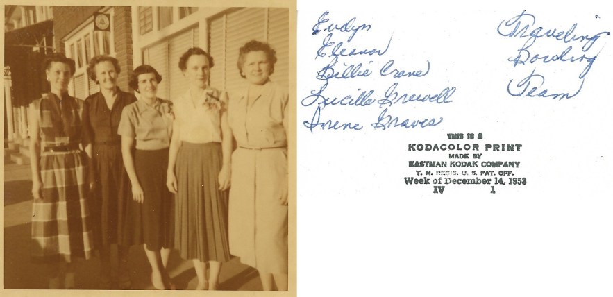 Evelyn Faulkner, Eleanor Baird and Traveling Bowling Team, 1953