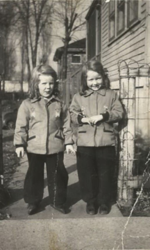 Daughters of Frances May Faulkner Fancher and Leonard Fancher: Judith (on left) and Susanne (on right) Fancher, age 6 and 7. Photo from the photo collection of Frances' daughter, Judith Hatch.