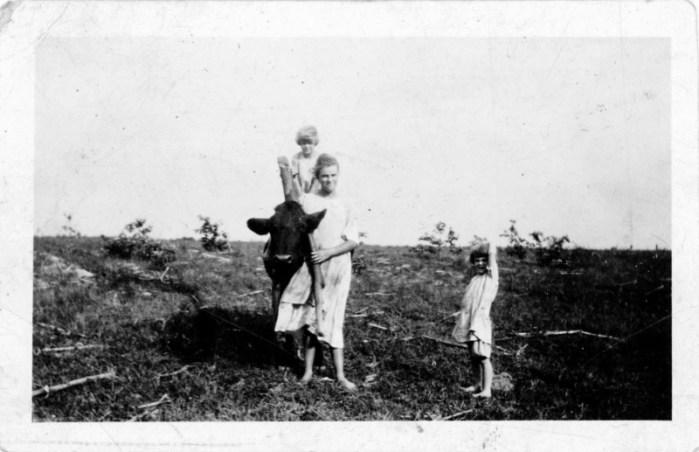 Mary Rodgers with Hazel & Leota Bradshaw (cow named Cherry).