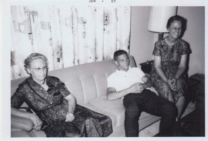 Myrtle Phillis, grandson, Bob Faulkner, and daughter, Eleanor Ph