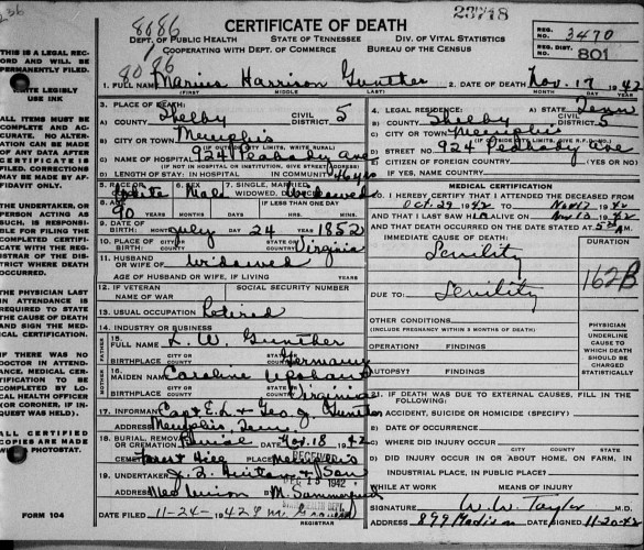 State of Tennessee, Department of Vital Statistics, certificate of death, no. 23718, Memphis, Shelby County, Marius Harrison Gunther, 17 Nov 1942.
