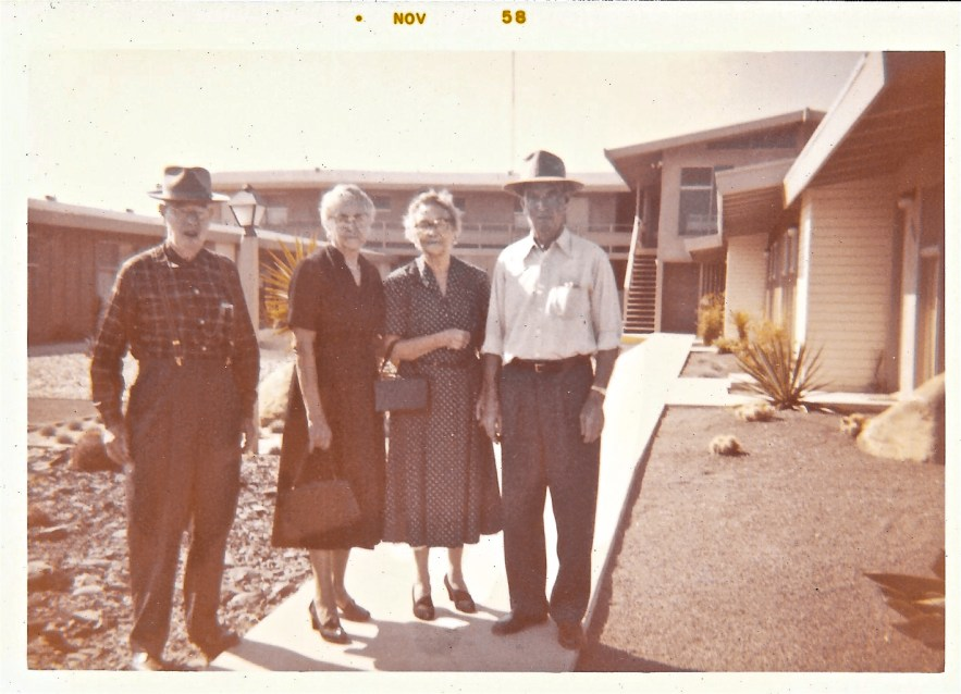 W. W. Phillis and Myrtle Hooper Phillis and Mabel Hooper and Fred Phillis.1958