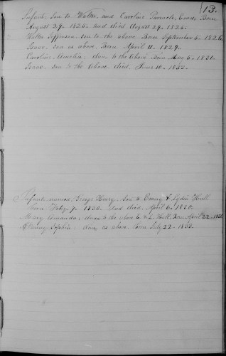 Whitingham, Windham County, Vermont, Birth and Death Record, vol. A 1829-1863, p. 13, Emory and Lydia Hull family.
