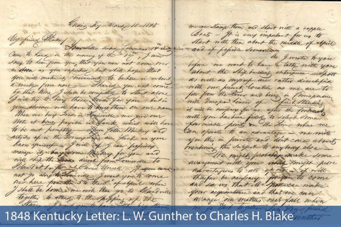 1848 Kentucky Letter: L. W. Gunther to Charles H. Blake