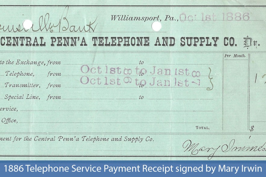 1886 Telephone Service Payment Receipt signed by Mary Irwin