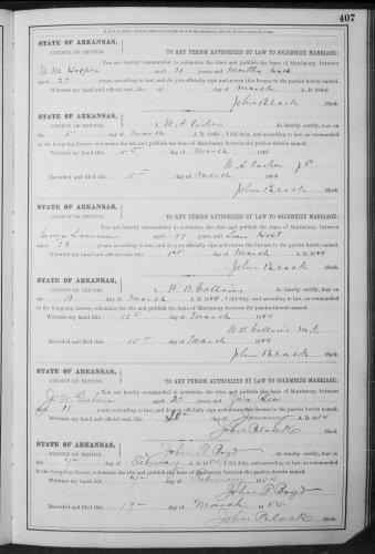 Benton County, Arkansas, Marriage Record, vol. B. p. 407, M. M. Hooper–Martha Hall, 4 Nov 1877.
