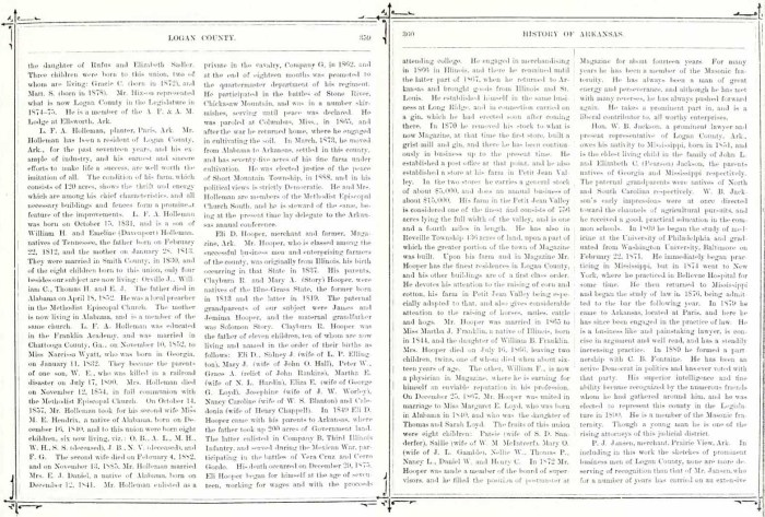 Biographical and Historical Memoirs of Western Arkansas (Chicago and Nashville : Southern Publishing Company, 1891), Logan County, p. 359-360, Eli D. Hooper.