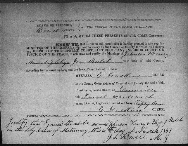 Bond County, Illinois, Marriage Records 1817-1872, loose papers, Johnson Henry–Eliza Jane Balch marriage, 6 Mar 1851