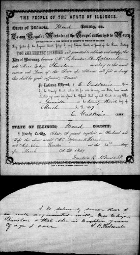 Bond County, Illinois, Marriage Records 1817-1872, loose papers, Sylvander B. Holcomb–Miss Eliza Thurston, 23 Mar 1859