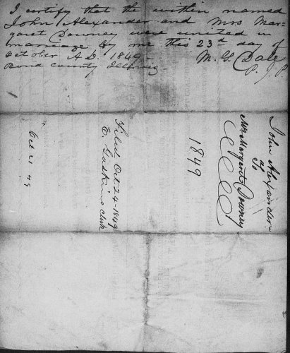 Bond County, Illinois, Marriage Records, loose papers, John Alexander–Mrs. Margaret Downy, 23 Oct 1849.