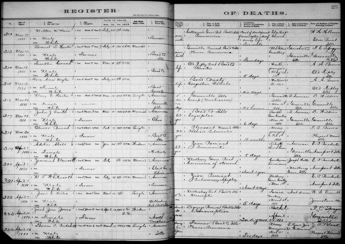 Bond County, Illinois, Register of Deaths, vol. A, p. 25, no. 321, M. L. Whitworth, 28 Feb 1880.