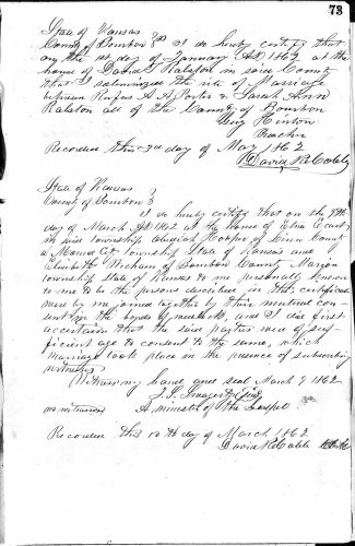 Bourbon County, Kansas, Marriage Record from Oct 1855, vol. 1, p. 73, Obadiah Hooper–Elisabeth Wickham, 9 Mar 1862. Married at the house of Etna Ecart. Obediah Hooper of Mound City, Linn County and Elisibeth Wicham of Marion Township, Bourbon County.