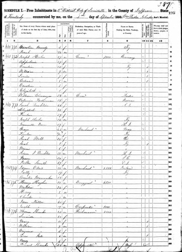 Freelove in household of her mother, 1850 U.S. census, Louisville District 2, Jefferson County, Kentucky, population schedule, page 195 (stamped) 387 (penned)), dwelling 663, family 773, Sarah Bucklin household.