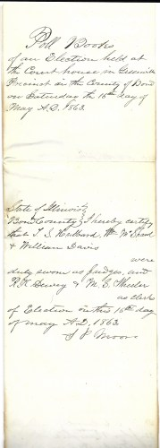 Greenville, Bond County, Illinois Poll Book, 16 May 1863, outside cover, held by Faulkner–Hull Collection, Massachusetts