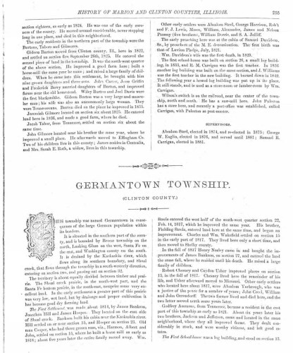 History of Marion and Clinton Counties, Illinois (Philadelphia : Brink, McDonough and Co., 1881), p. 55, Germantown Township, James Hooper.