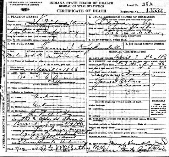Indiana State Board of Health, certificate of death, no. 13552, Vigo County, James J. Kuykendall, 7 Apr 1946