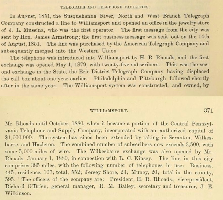 """John F Meginness, editor, """"Telegraph and Telephone Facilities,"""" History of Lycoming County, Pennsylvania (Chicago, Illinois : Brown, Runk and Co., 1892), p. 370-371, Central Pennsylvania Telephone and Supply Company."""