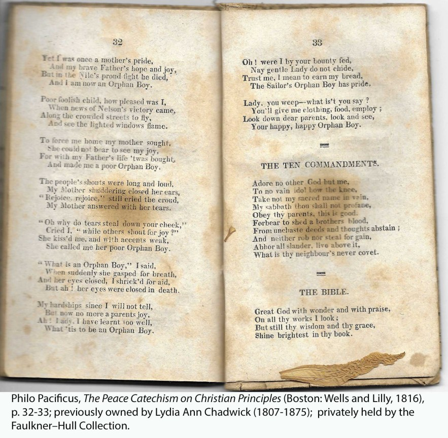 Philo Pacificus, The Peace Catechism on Christian Principles (Boston: Wells and Lilly, 1816), p. 32-33; previously owned by Lydia Ann Chadwick (1807-1875); privately held by the Faulkner–Hull Collection.