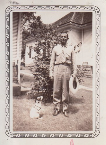 Hanley Baird and Timmie the dog, ca 1940s