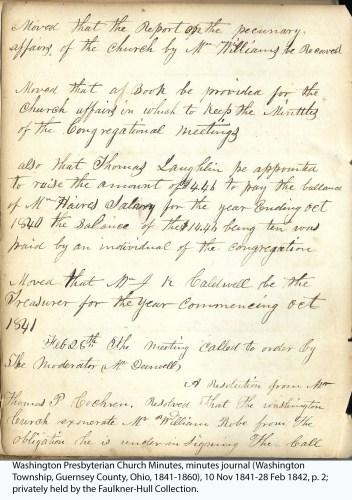Washington Presbyterian Church Minutes, minutes journal (Washington Township, Guernsey County, Ohio, 1841-1860), 10 Nov 1841-28 Feb 1842, p. 2; privately held by the Faulkner-Hull Collection.