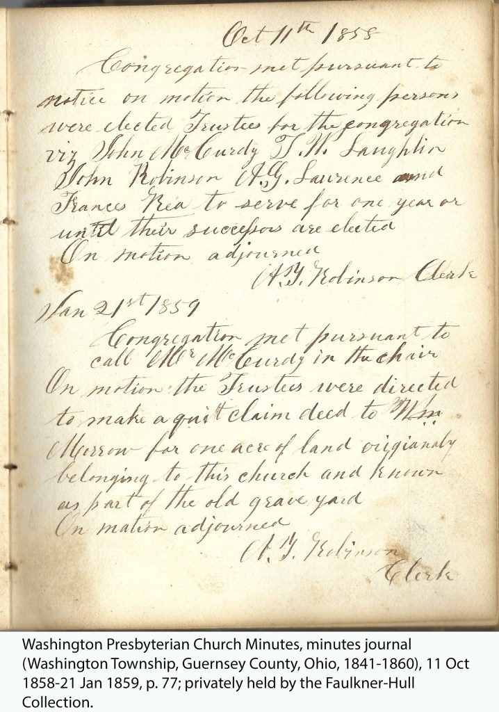 Washington Presbyterian Church Minutes, minutes journal (Washington Township, Guernsey County, Ohio, 1841-1860), 11 Oct 1858-21 Jan 1859, p. 77; privately held by the Faulkner-Hull Collection.