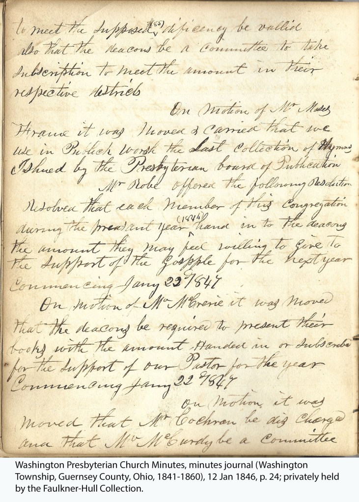 Washington Presbyterian Church Minutes, minutes journal (Washington Township, Guernsey County, Ohio, 1841-1860), 12 Jan 1846, p. 24; privately held by the Faulkner-Hull Collection.