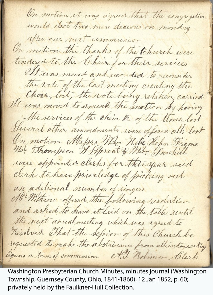 Washington Presbyterian Church Minutes, minutes journal (Washington Township, Guernsey County, Ohio, 1841-1860), 12 Jan 1852, p. 60; privately held by the Faulkner-Hull Collection.