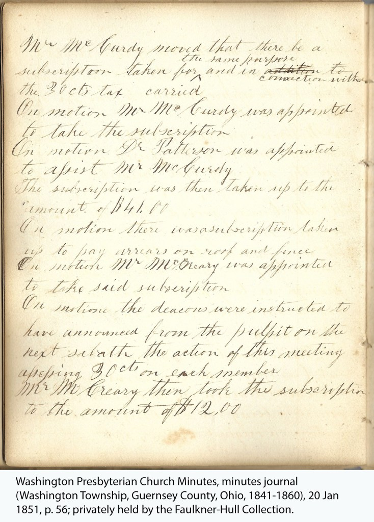 Washington Presbyterian Church Minutes, minutes journal (Washington Township, Guernsey County, Ohio, 1841-1860), 20 Jan 1851, p. 56; privately held by the Faulkner-Hull Collection.