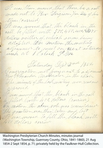 Washington Presbyterian Church Minutes, minutes journal (Washington Township, Guernsey County, Ohio, 1841-1860), 21 Aug 1854-2 Sept 1854, p. 71; privately held by the Faulkner-Hull Collection.