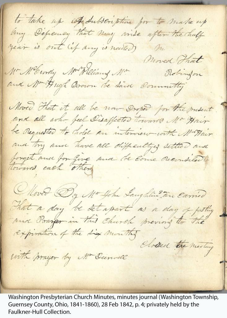 Washington Presbyterian Church Minutes, minutes journal (Washington Township, Guernsey County, Ohio, 1841-1860), 28 Feb 1842, p. 4; privately held by the Faulkner-Hull Collection.