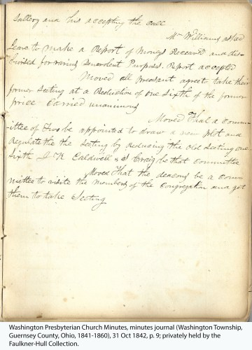 Washington Presbyterian Church Minutes, minutes journal (Washington Township, Guernsey County, Ohio, 1841-1860), 31 Oct 1842, p. 9; privately held by the Faulkner-Hull Collection.