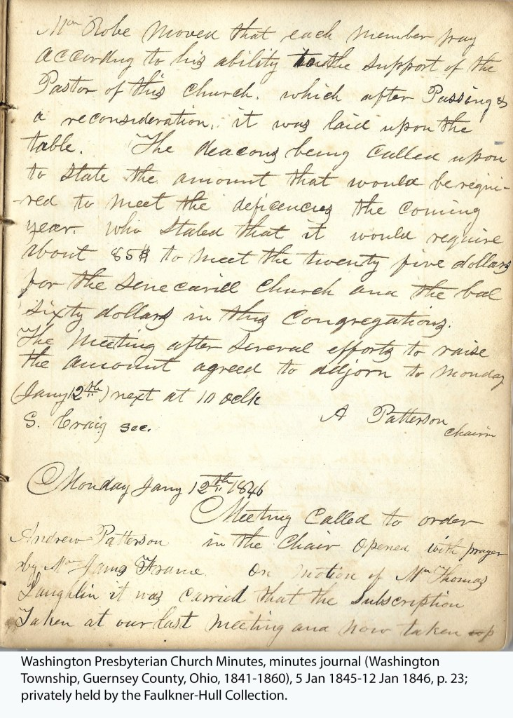 Washington Presbyterian Church Minutes, minutes journal (Washington Township, Guernsey County, Ohio, 1841-1860), 5 Jan 1845-12 Jan 1846, p. 23; privately held by the Faulkner-Hull Collection.
