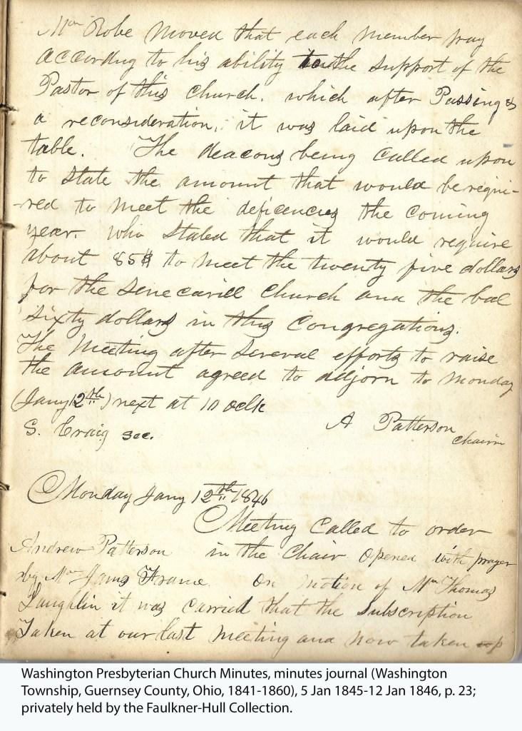 Washington Presbyterian Church Minutes, minutes journal (Washington Township, Guernsey County, Ohio, 1841-1860), 5 Jan 1845-12 Jan 1846, p. 23; privately held by the Faulkner-Hull Collection.