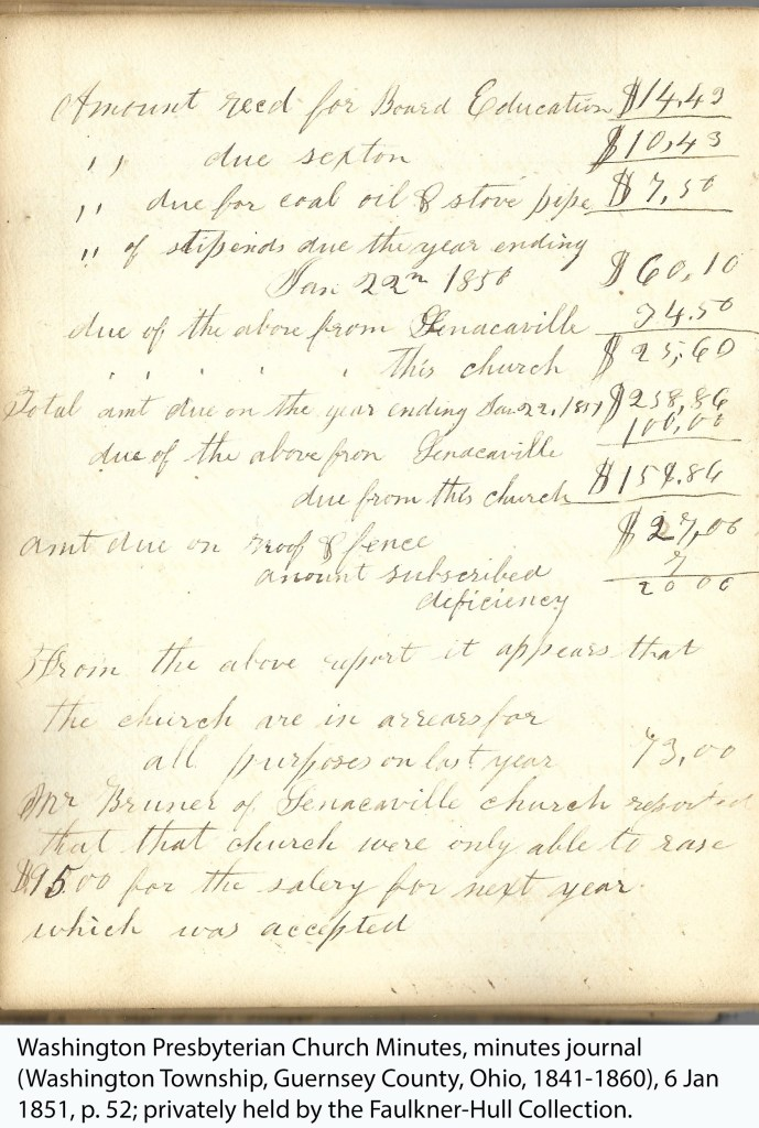 Washington Presbyterian Church Minutes, minutes journal (Washington Township, Guernsey County, Ohio, 1841-1860), 6 Jan 1851, p. 52; privately held by the Faulkner-Hull Collection.