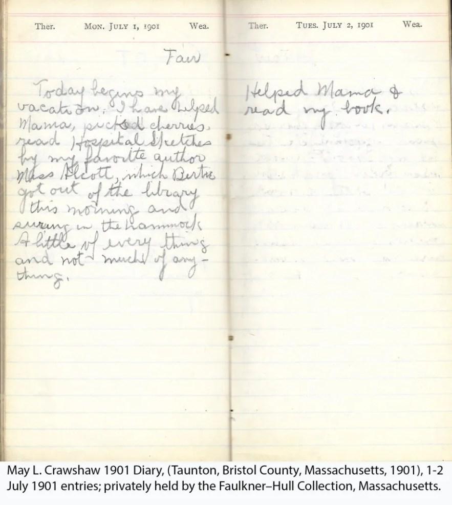 May L. Crawshaw 1901 Diary, Taunton, Bristol County, Massachusetts, 1-2 July 1901 entries